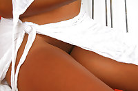 Ebony Princess poses in white